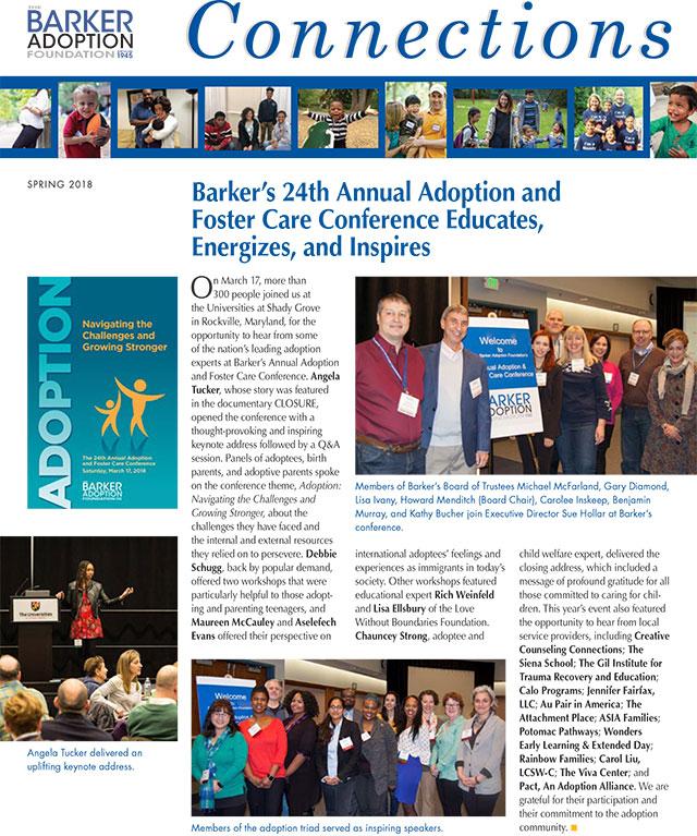 Barker Adoption Foundation Connections Newsletter