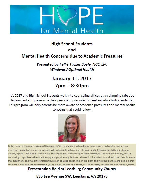 Free Workshop High School Students And Mental Health Concerns Due